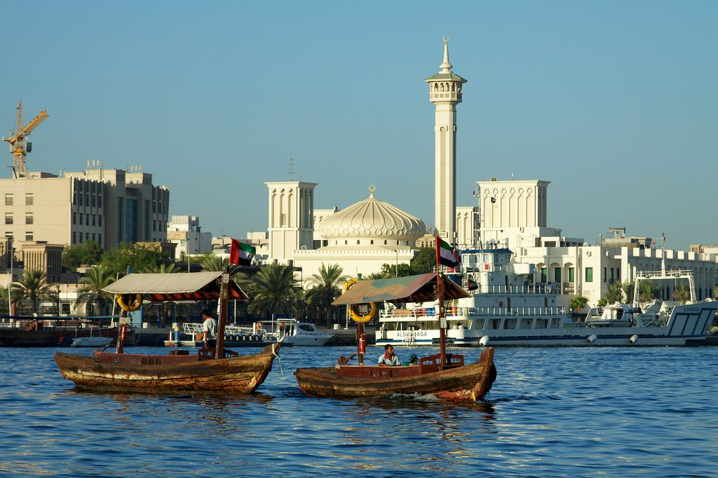 Ferry dhows starting to ply Dubai Creek in the early morning.